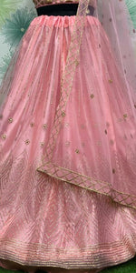 Peach Color Wedding Traditional Party Net Embroidered Lehenga Choli