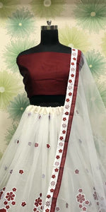 Maroon Color Wedding Party Net Embroidered Semi Stitched Lehenga Choli