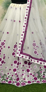 Wine Color Wedding Party Net Embroidered Semi Stitched Lehenga Choli