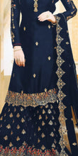 Attractive Blue Color Wedding Georgette Embroidered Plazzo Suit