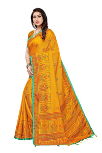 Jhulka Yellow Jute Silk Printed Saree