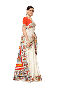 Vivo Orange Khadi Silk Saree