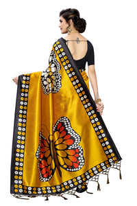 Manmohak Yellow Art Silk Saree