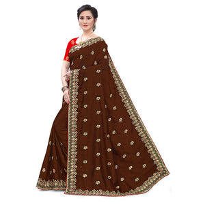 Chocolate Vichitra Silk All Over Embroidered Work With Saree