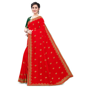 Red Vichitra Silk All Over Embroidered Work With Saree