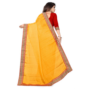Mustard Fancy Chiffon Silk Jacquard Lace Border With Saree
