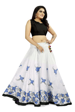 Newest White & Blue Satin Banglory Digital Printed Lehenga Choli With Latkan