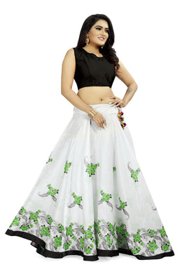 Celebration Look White & Green Satin Banglory Digital Printed Lehenga Choli With Latkan