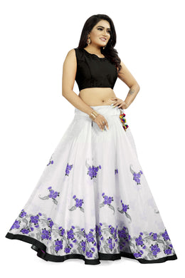 Modest Style White & Purple Satin Banglory Digital Printed Lehenga Choli With Latkan