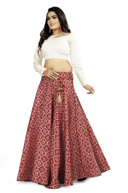 Jollyfull Maroon Satin Banglory Digital Printed Lehenga Choli With Latkan