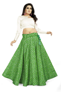 Ravashing Look Green Satin Banglory Digital Printed Lehenga Choli With Latkan