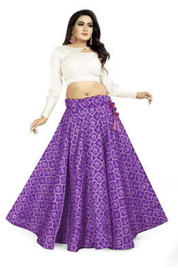 Trendy Look Purple Satin Banglory Digital Printed Lehenga Choli With Latkan