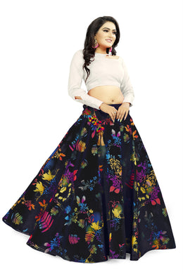 Interesting Black Satin Banglory Digital Printed Lehenga Choli With Latkan