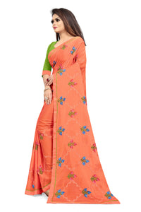 Orange Chiffon Silk Thread Embroidered Work With Saree