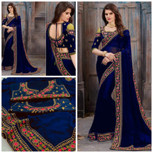 Blue Color Georgette With Heavy Embroidery Work Border