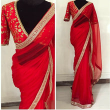 ▶️ Red Color Georgette Saree With Sequence Work Border