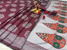 Maroon Color Silver Zari Looking So Beautiful In Saree With Plain Running Blouse