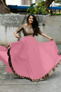 Peach Color Heavy Georgette With Full Inner Attached Full Stitichded