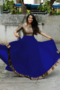 Royal Blue Color Heavy Georgette With Full Inner Attached Full Stitichded