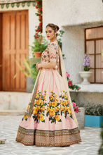 Peach Silk Bridal Lehenga Choli With Sequins Embroidery Work