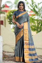 Grey Art Silk Saree With Zari Woven Pallu