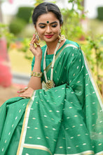 Green Linen Silk Saree With Silver And Gold Zari