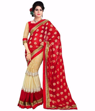 Red Color Gorgette Plain Festival  Wear Saree