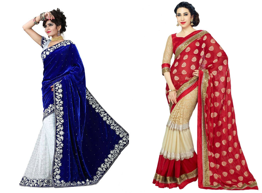 Combo Red And Blue Saree