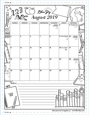 image regarding Monthly Printable Calendars named Printable Calendars Blue Sky