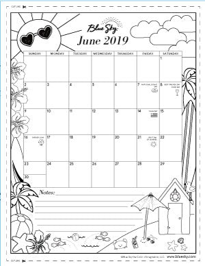 picture regarding Printable Coloring Calendar titled Printable Calendars Blue Sky
