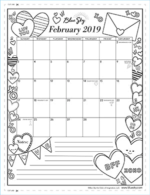 photo relating to Printable Coloring Calendar titled Printable Calendars Blue Sky