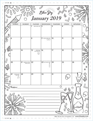 Printable Coloring Calendar January 2019 Printable Calendars – Blue Sky