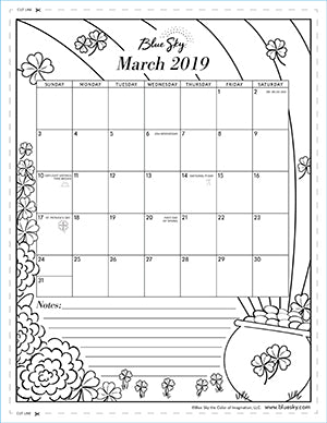 graphic relating to Printable Coloring Calendar identify Printable Calendars Blue Sky