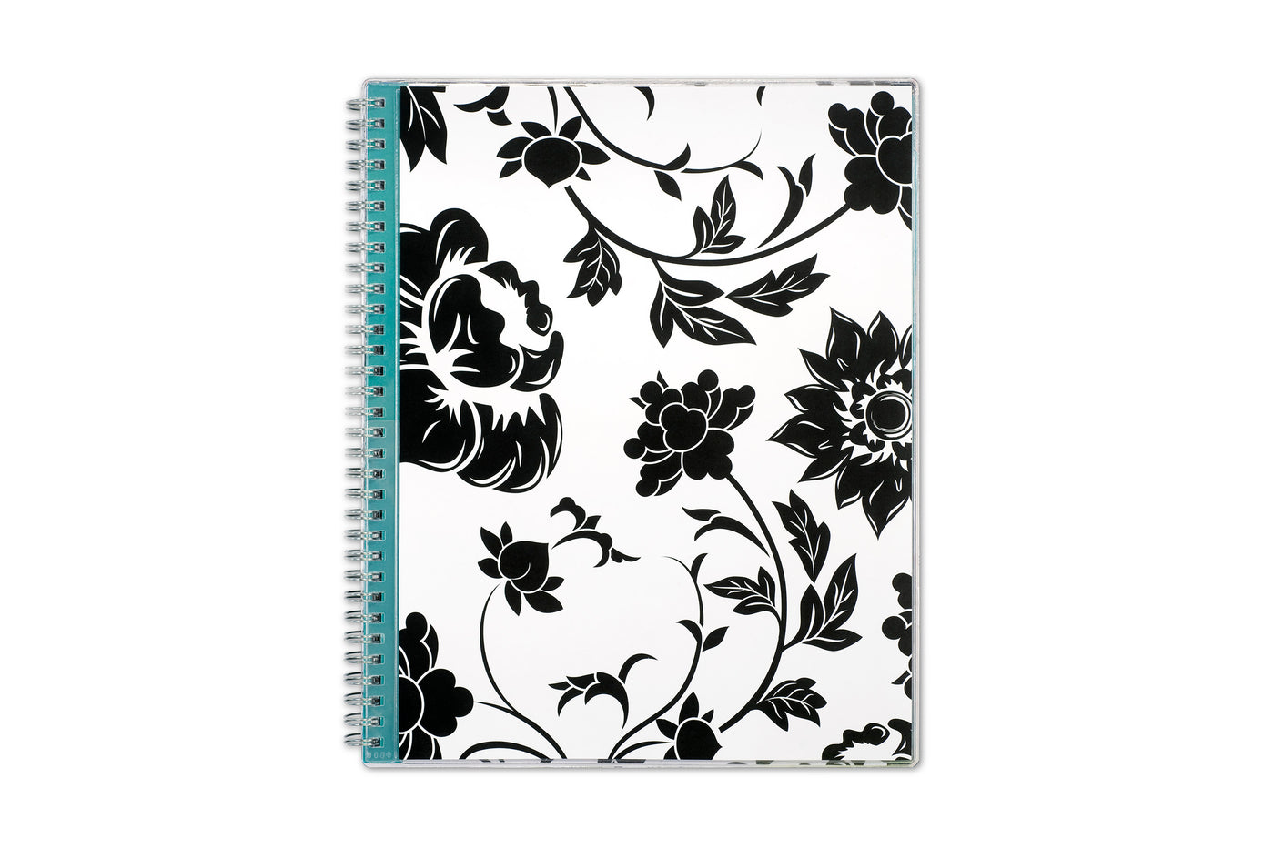 2021 planner by blue sky featuring black flowers, white background, teal interior accents, and silver twin wire-o binding  in 8.5x11 size