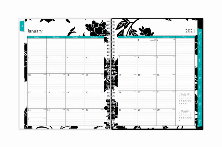 January 2021 monthly view spread for this 2021 weekly monthly planner by blue sky featuring ample lined writing space for each date, notes section, and monthly reference calendars