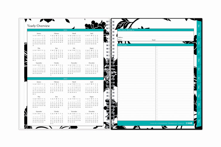 2021 and 2022 yearly overview calendar on this 2021 weekly monthly planner featuring yearly goals, check boxes, notes section, and contact information in a 8.5x11 format size