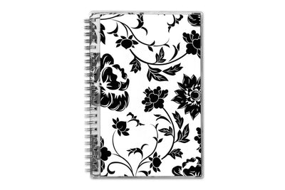 floral design, 2020 blue sky planner in white and black flowers 5x8