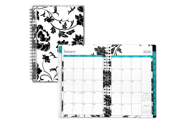 5x8 monthly planner in floral design
