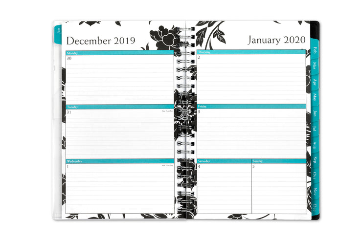 5x8 weekly/monthly planner in floral design, barcelona