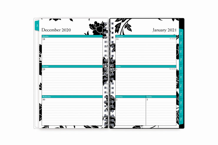2021 planner weekly view featuring ample lined writing space Monday- Sunday, with teal monthly tabs, and notes section.