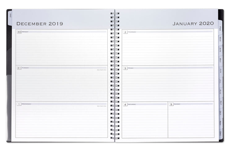 2020 weekly planner, professional, black cover, 8.5x11