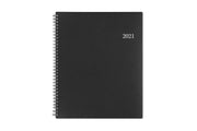 2021 weekly planner by blue sky in 8.5x11 size featuring a charcoal front cover and silver twin wire-o binding for 2021 year