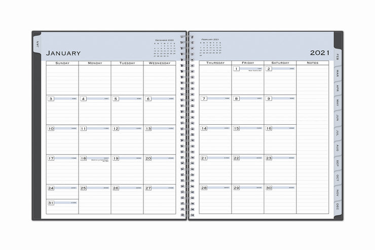 january 2021 monthly view in this 2021 weekly monthly planner featuring lined writing space and a notes section with monthly tabs