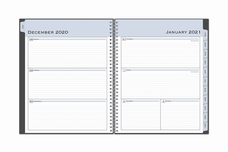 2021 planner featuring a weekly view for January with ample lined writing space, monthly tabs,