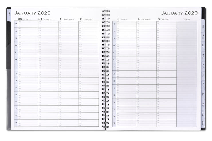 2020 appointment book, weekly view, time periods, professional