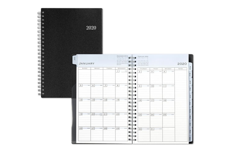 2020 monthly planner, blue sky, black, professional
