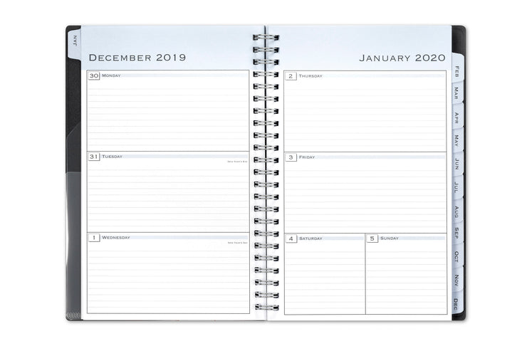 2020 weekly planner, weekly/monthly 8.5x11 black cover