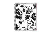 2020-2021 academic planner with a white background and black flowers flexible front cover and silver twin wire-o binding