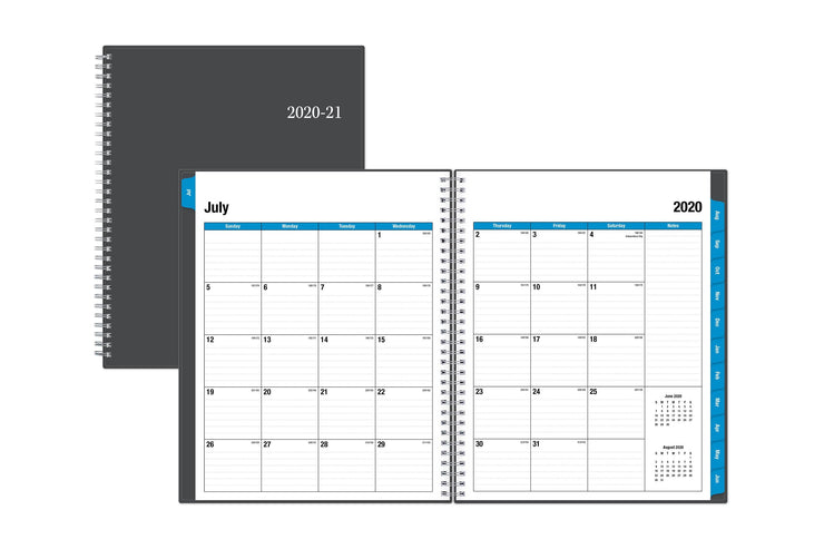 july 2020 to june 2021 monthly calendar spread with lined writing space, a notes section, and montly reference calendar