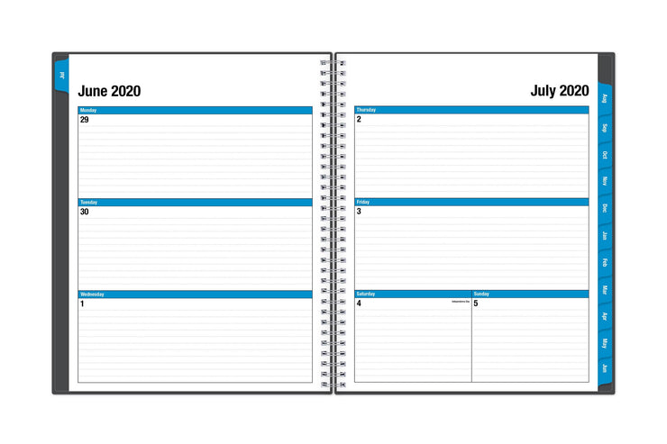 A weekly spread starting in July 2020 with ample lined writing space for each day and blue monthly tabs for academic year